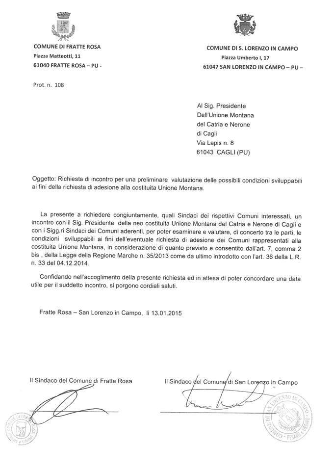 Lettera di richiesta di San Lorenzo e Fratterosa a valutare l'ingresso nell'unione dei Comuni Montani, (i comuni attorno a noi si stanno muovendo)