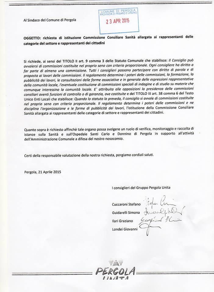 LETTERA DI RICHIESTA ISTITUZIONE COMMISSIONE CONSILIARE SANITA'
